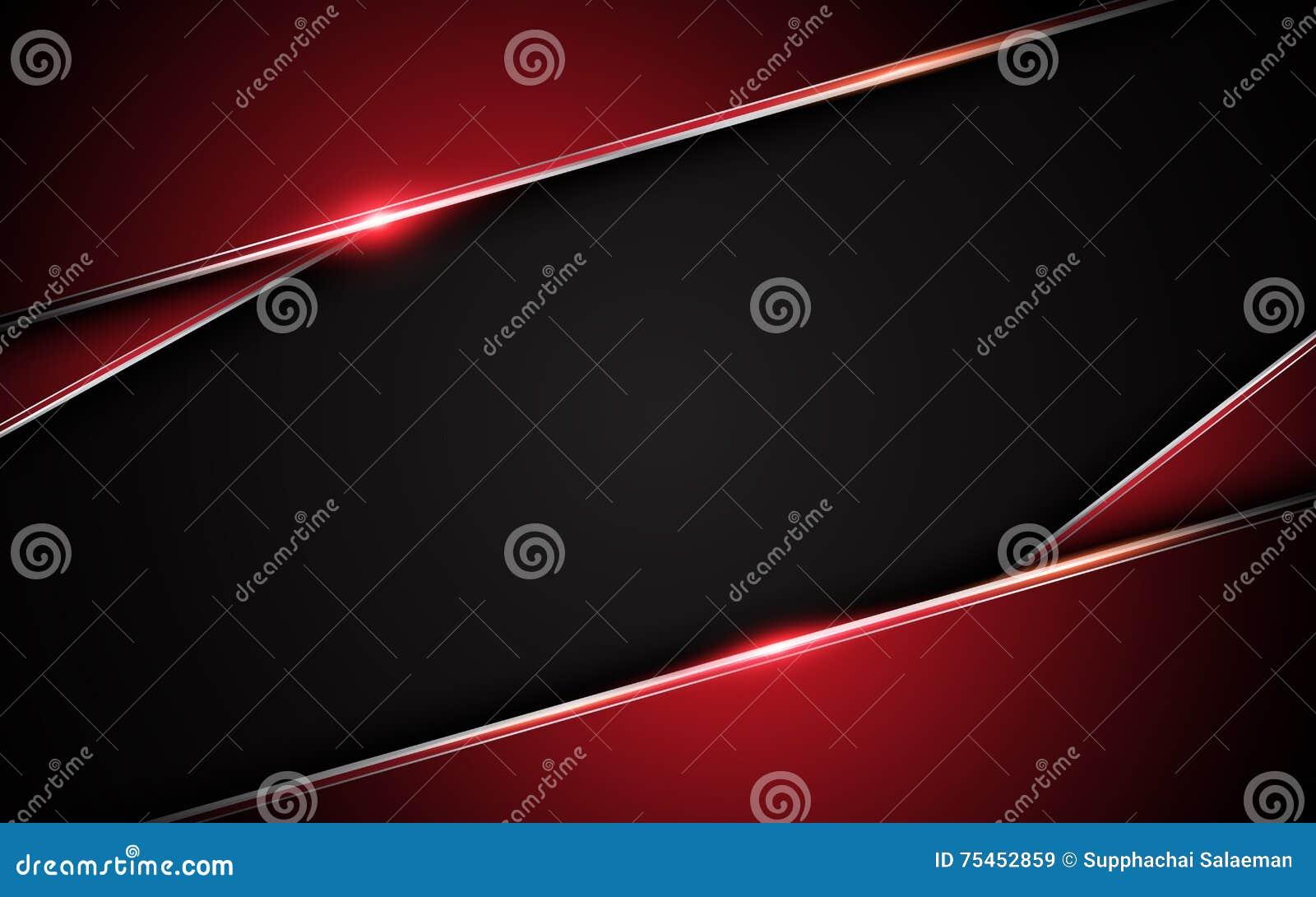 Fundo preto vermelho metálico abstrato do conceito da inovação da tecnologia do projeto da disposição do quadro