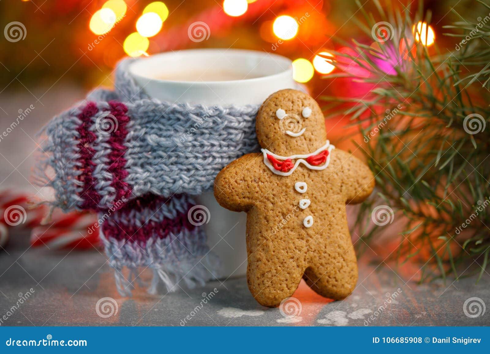 Fundo quente do Natal da bebida do inverno Cookie do pão-de-espécie da casa do copo do cacau do feriado em uma tabela Conceito da