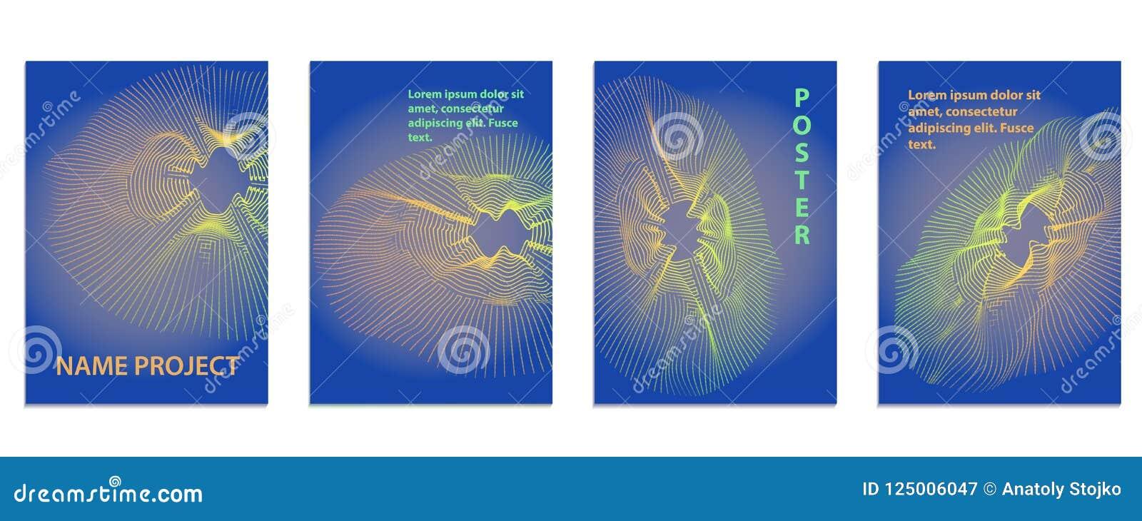 Fundo radial da onda da música Cartaz sadio com linha abstrata w