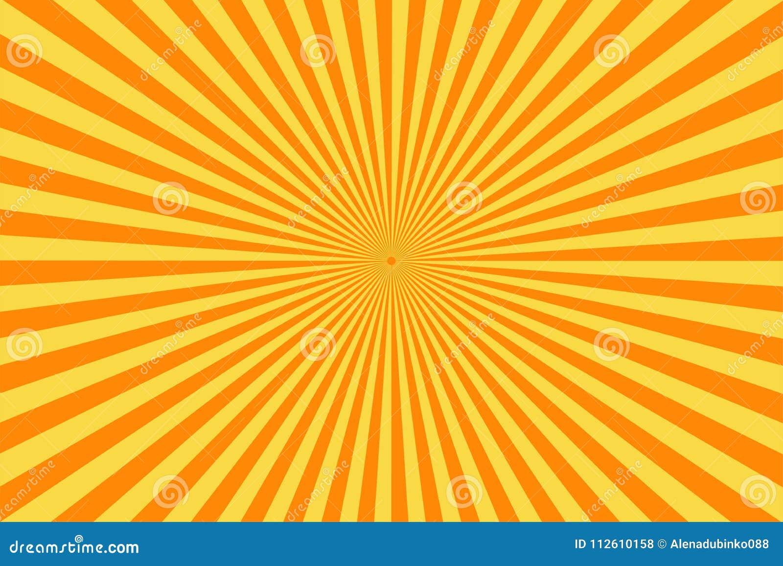 Fundo retro da banda desenhada Raios amarelos do sol do vintage estilo do pop art