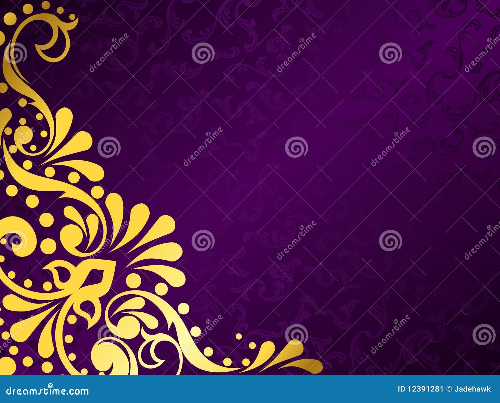 Fundo roxo com o ouro filigree, horizontal