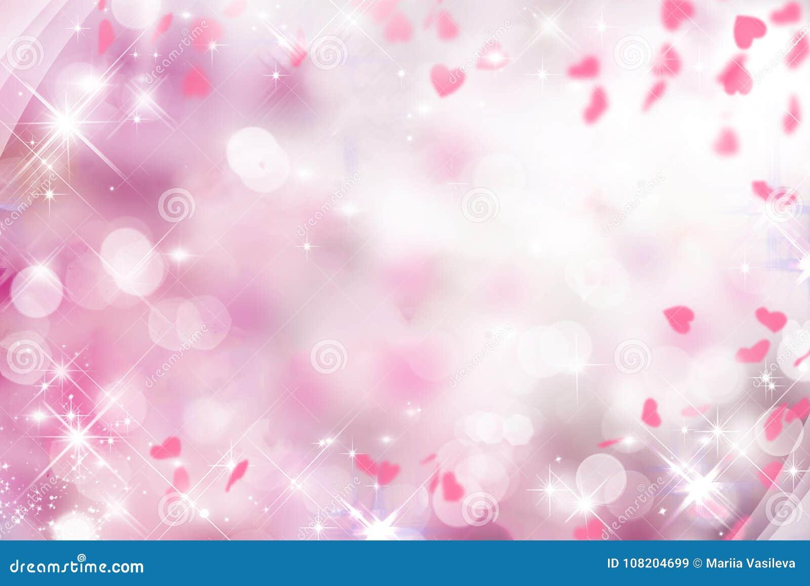 Fundo roxo obscuro com rosa e branco e corações no dia do ` s do Valentim, casamento, feriado, faísca, bokeh