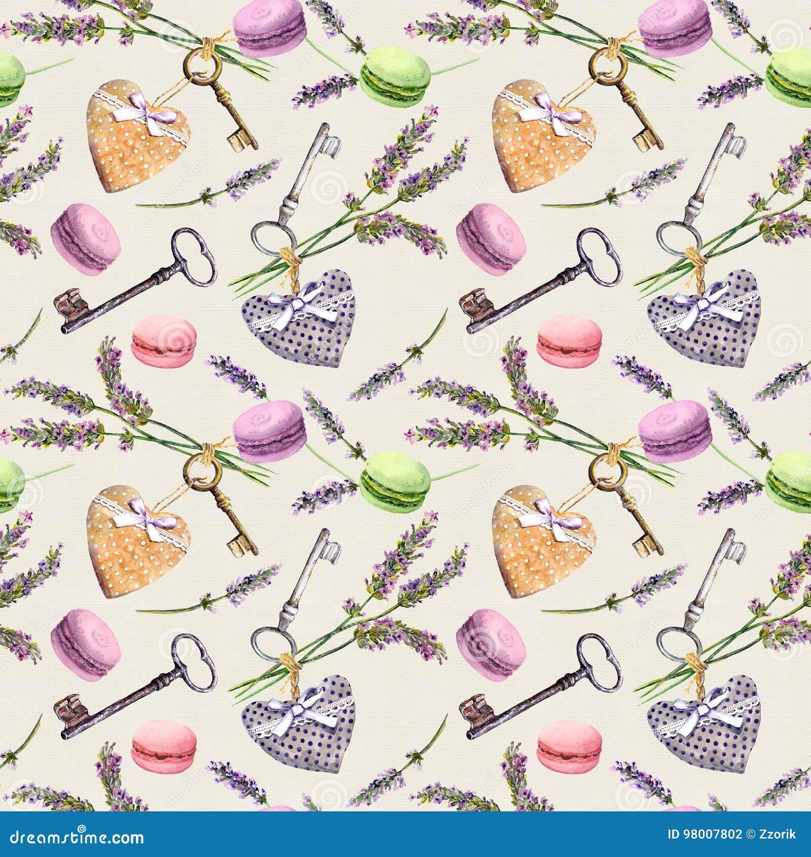 Fundo rural francês - a alfazema floresce, bolos do bolinho de amêndoa, chaves do vintage, corações de matéria têxtil Teste padrã