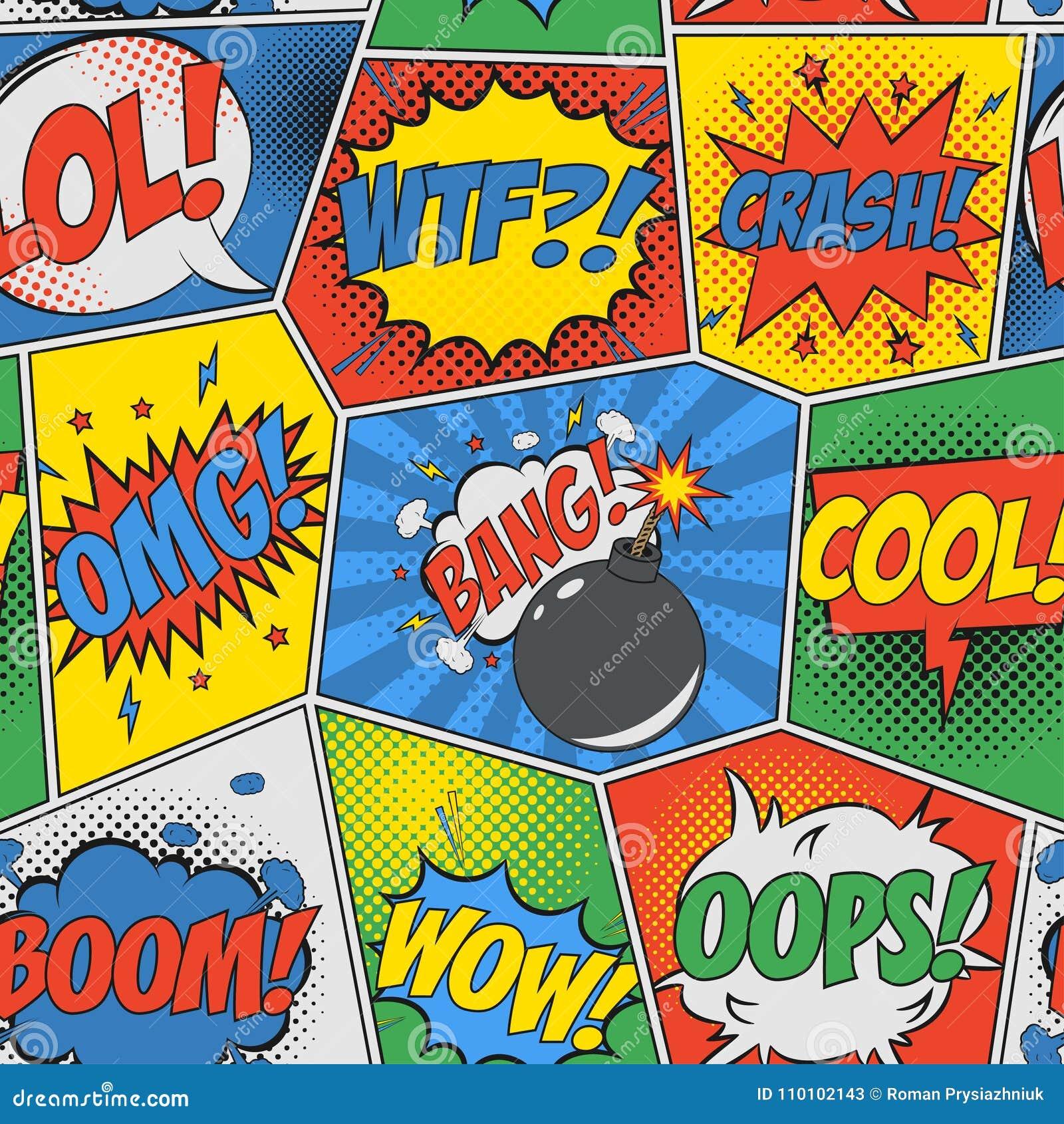 Fundo sem emenda cômico Teste padrão retro do pop art com bolhas e bomba do discurso Contexto para o projeto do livro da banda de