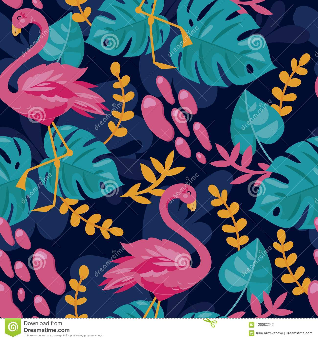Fundo sem emenda com as folhas cor-de-rosa do flamingo e do monstera