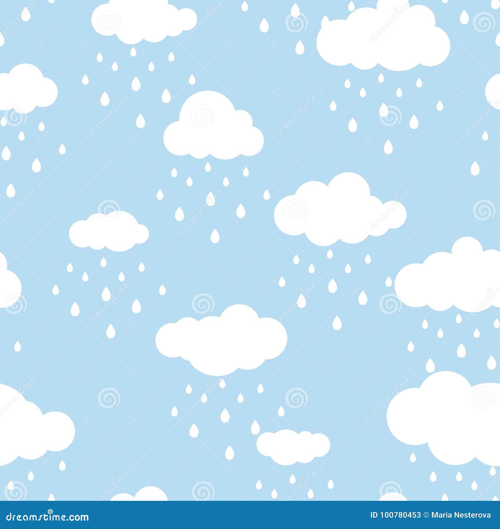 Fundo Sem Emenda Com Nuvens E Os Pingos De Chuva Brancos No Ceu