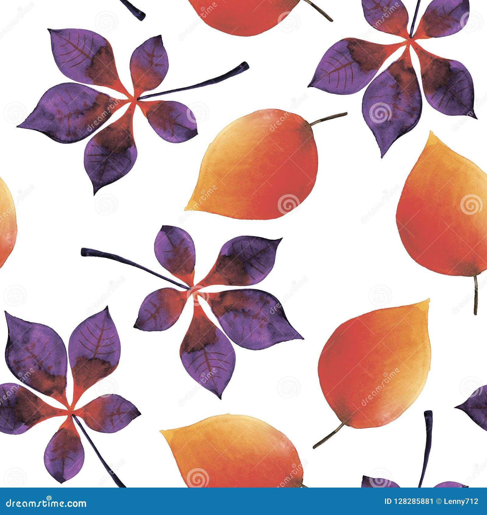 Fundo sem emenda da aquarela das folhas do outono