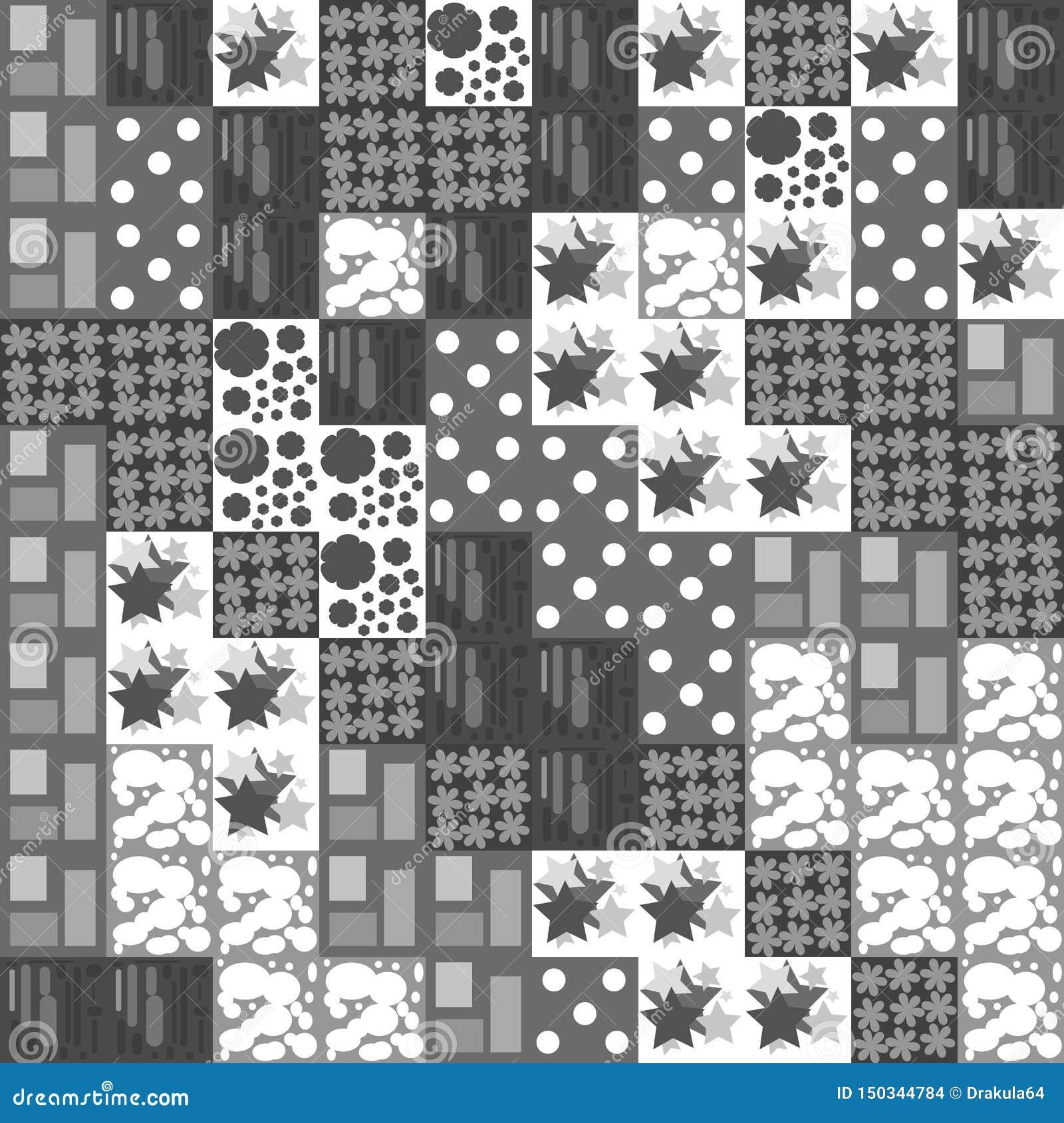 Fundo sem emenda de quadrados cinzentos e brancos com testes padrões diferentes