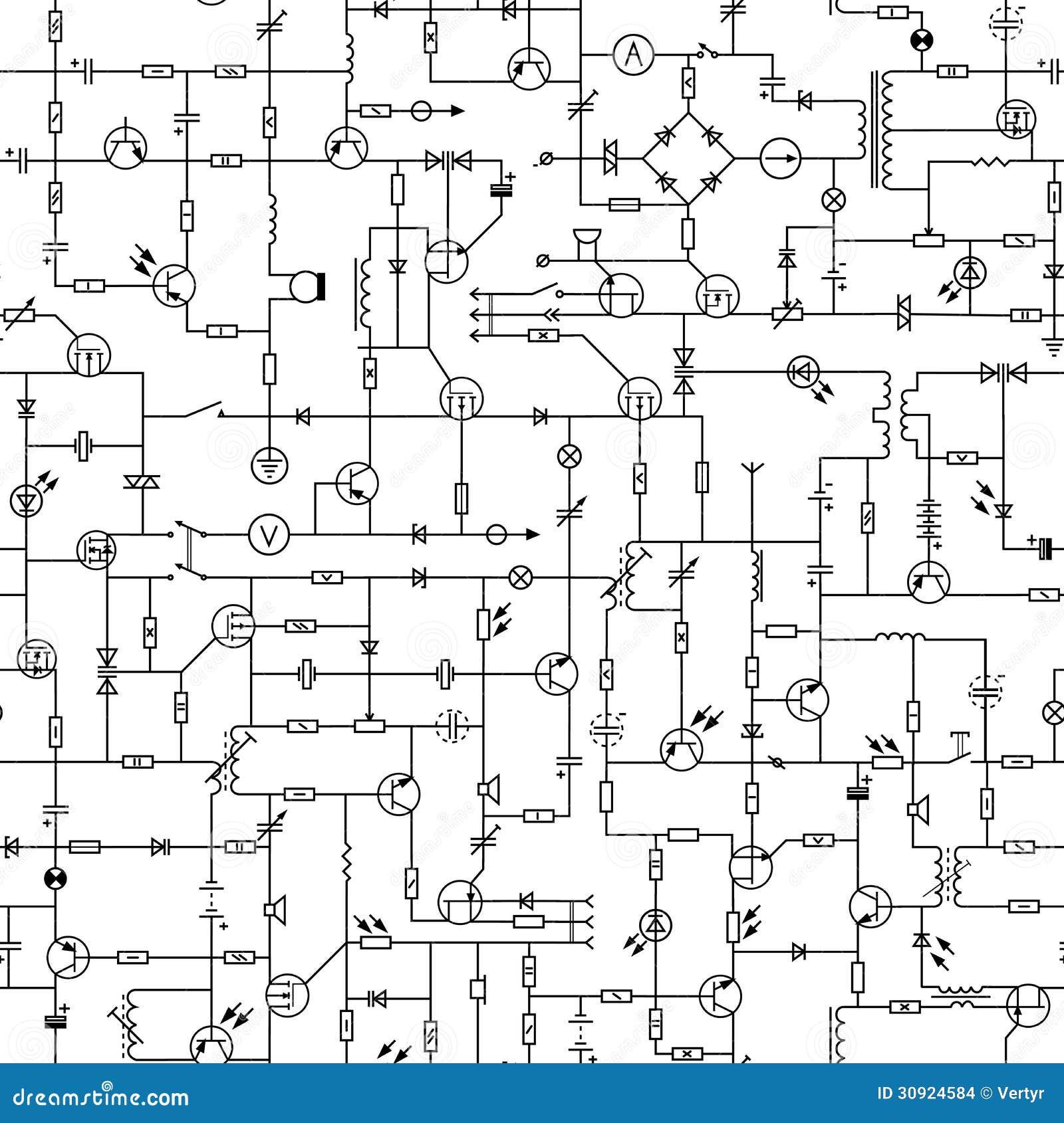 Circuito Eletrico : Fundo sem emenda do circuito elétrico imagens de stock