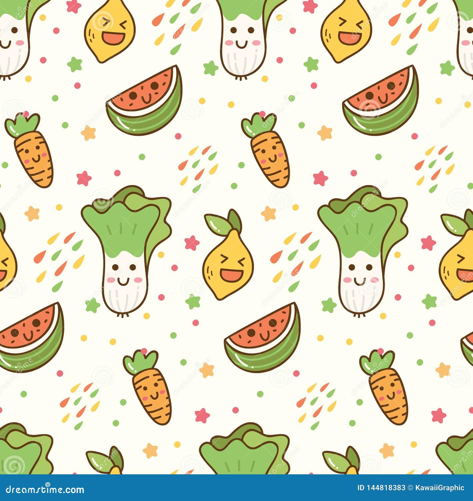 Fundo Sem Emenda Do Kawaii Das Frutas E Legumes Dos Desenhos