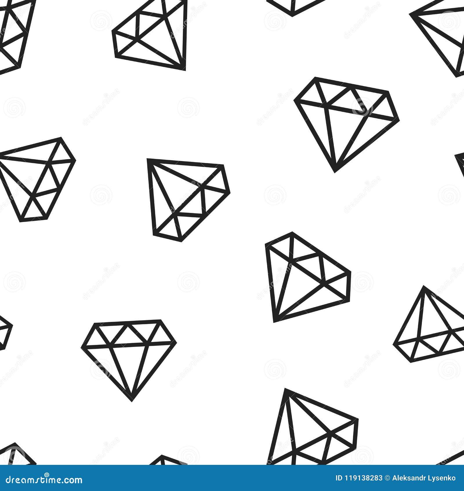 Fundo sem emenda do teste padrão do ícone da gema da joia do diamante Engodo do negócio