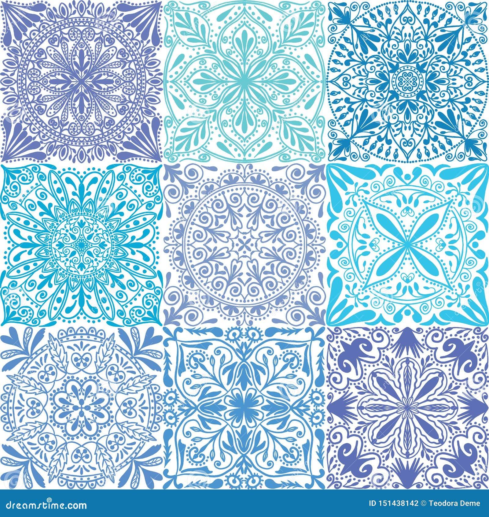 Fundo sem emenda do teste padrão das telhas simétricas azuis retros do vetor