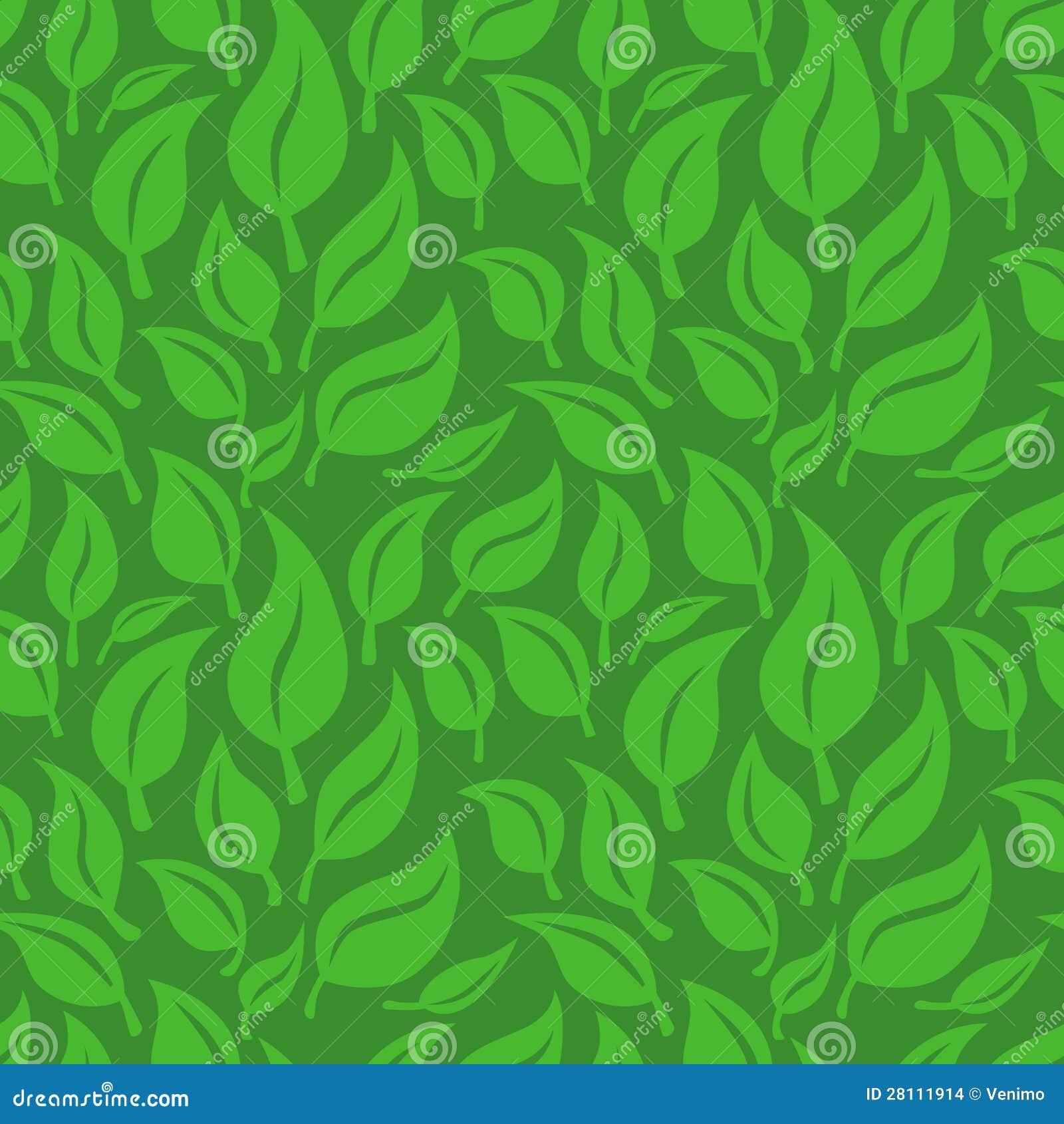 Fundo Sem Emenda Do Vetor Com Folhas Verdes Ilustração Do