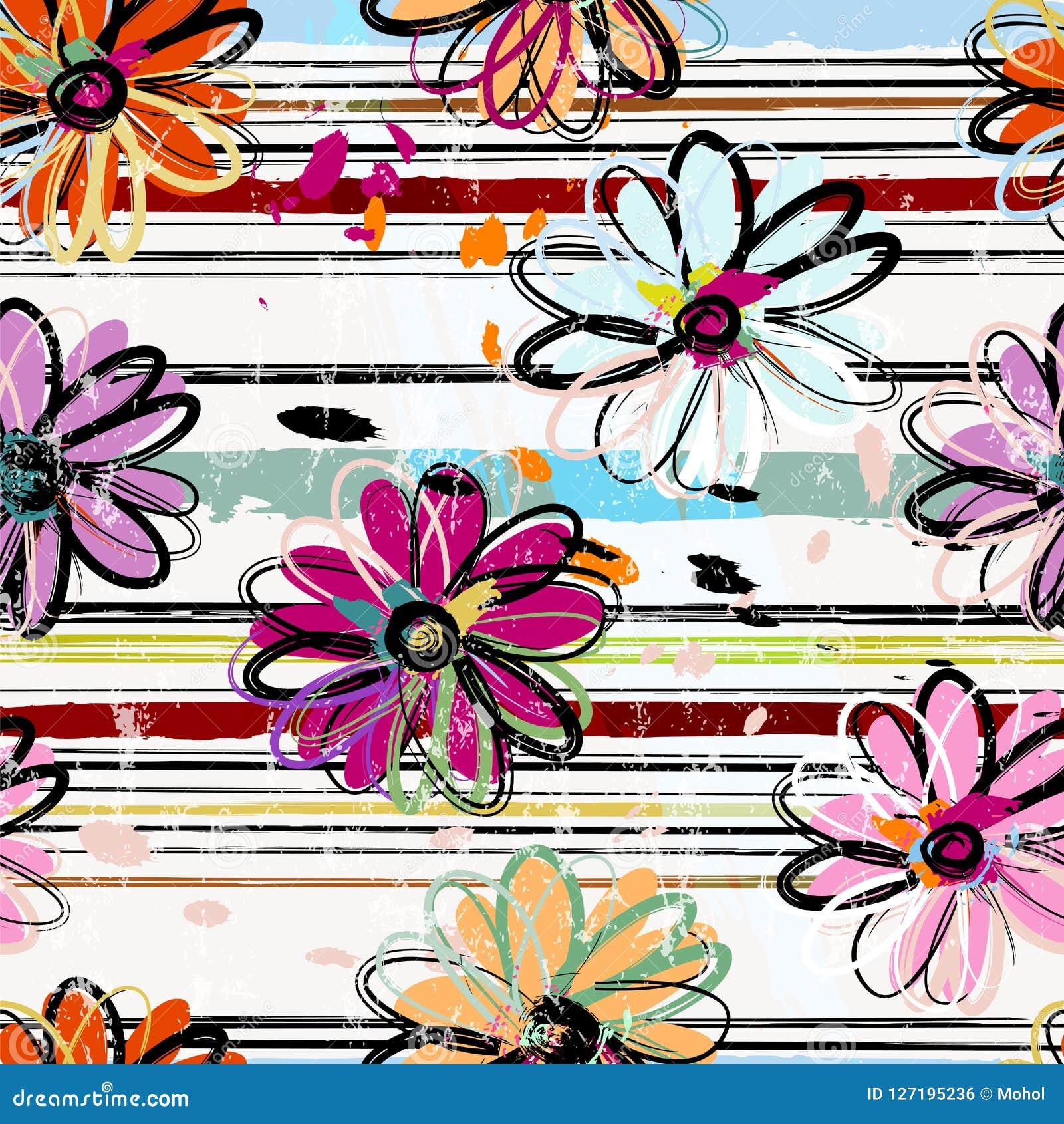 Fundo sem emenda floral do teste padrão, com listras, cursos da pintura