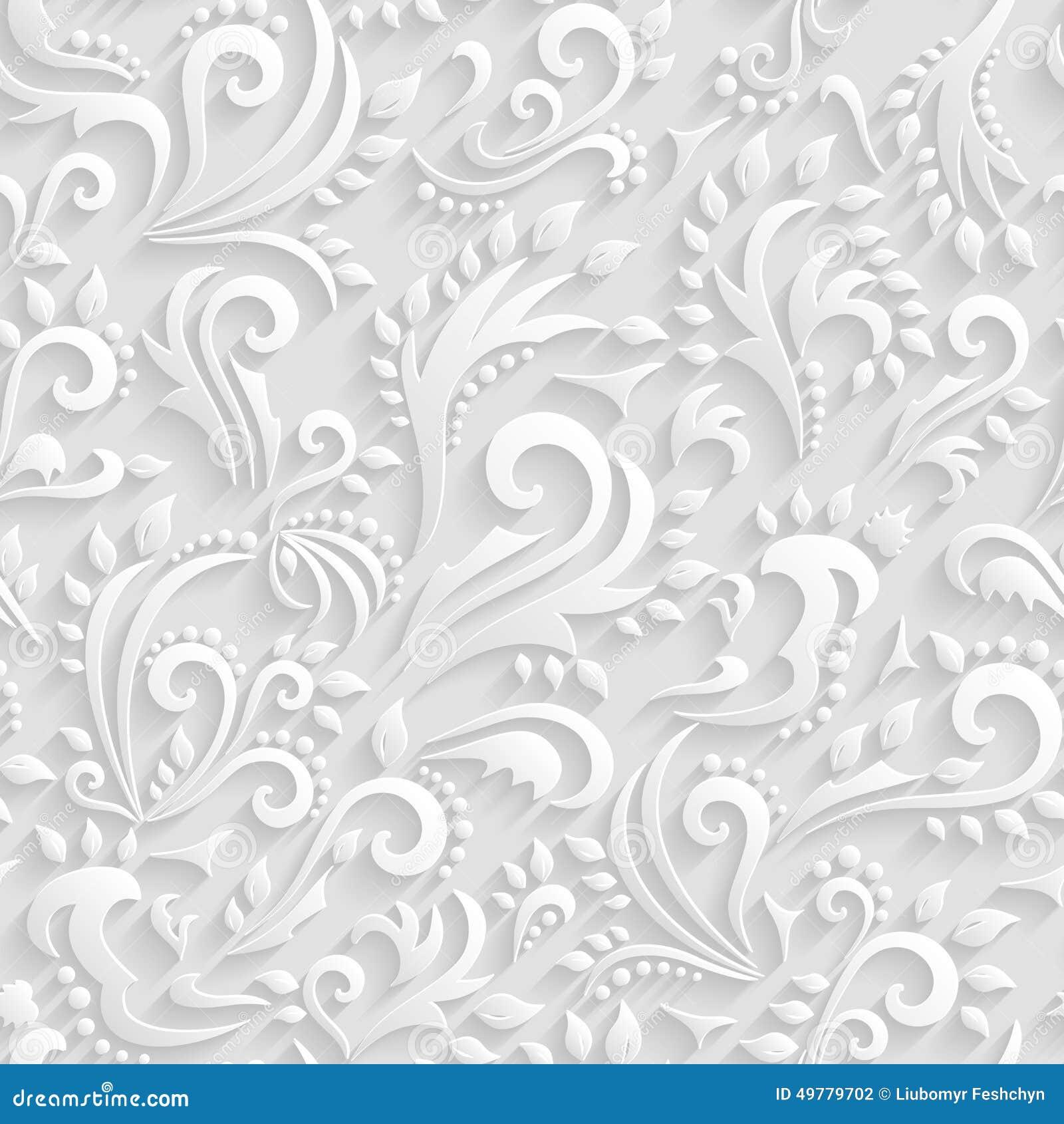 Fundo sem emenda vitoriano floral do vetor Convite do origâmi 3d, casamento, teste padrão decorativo dos cartões de papel
