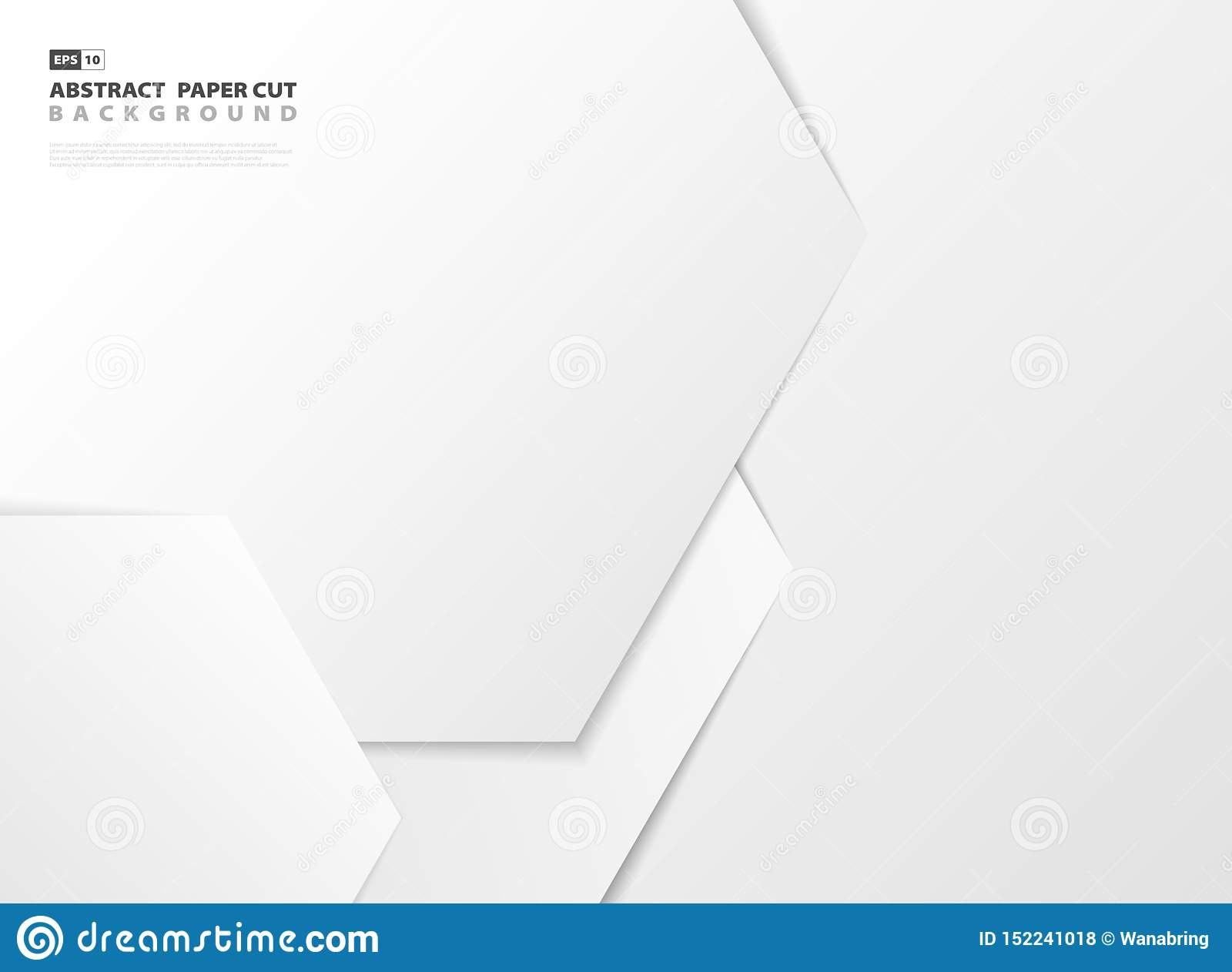 Fundo sextavado branco do corte do papel do projeto do teste padrão do inclinação do sumário Vetor eps10