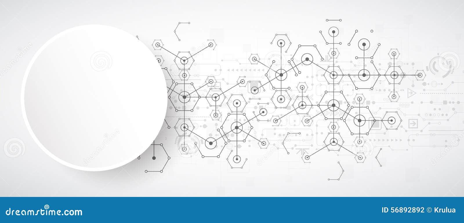 Fundo sextavado da tecnologia brilhante branca abstrata Connectio