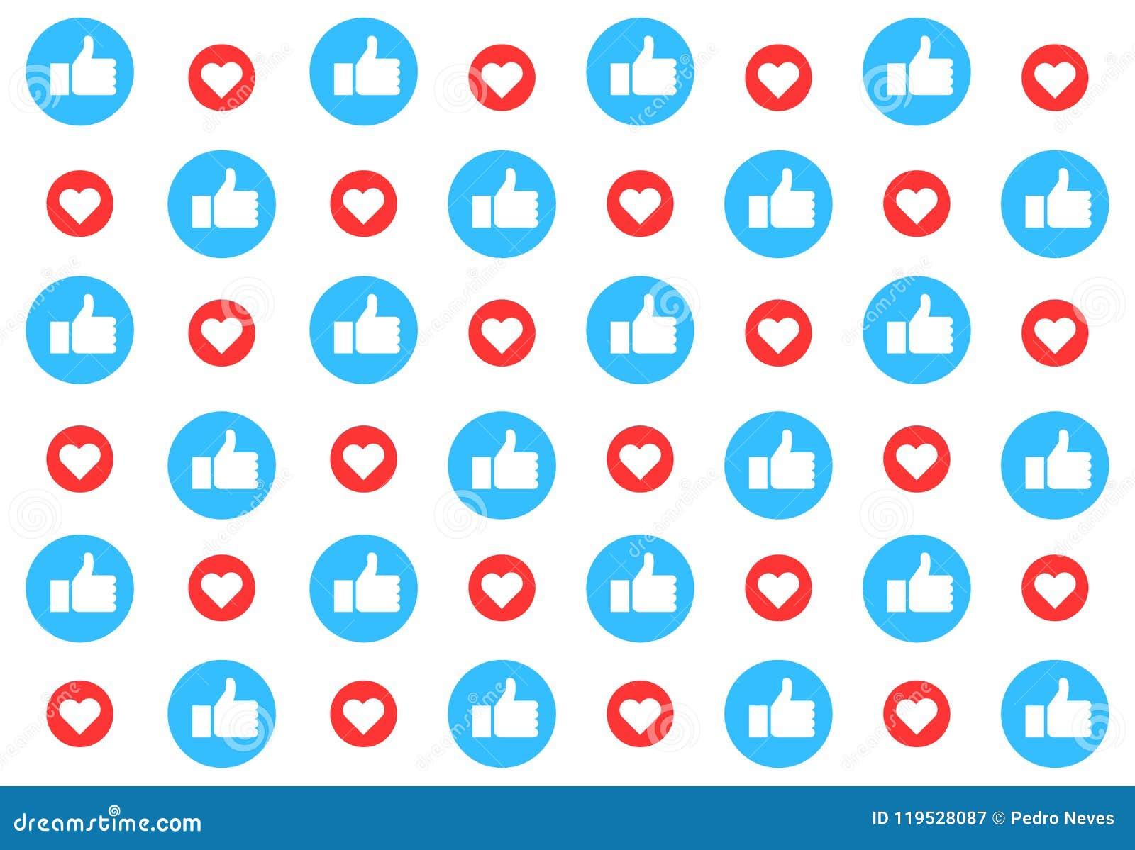 Fundo social do teste padrão dos meios com gostos Os polegares levantam e corações Projeto da ilustração do vetor