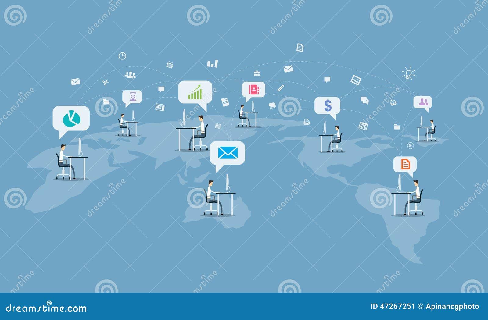 Fundo social global da conexão de uma comunicação empresarial
