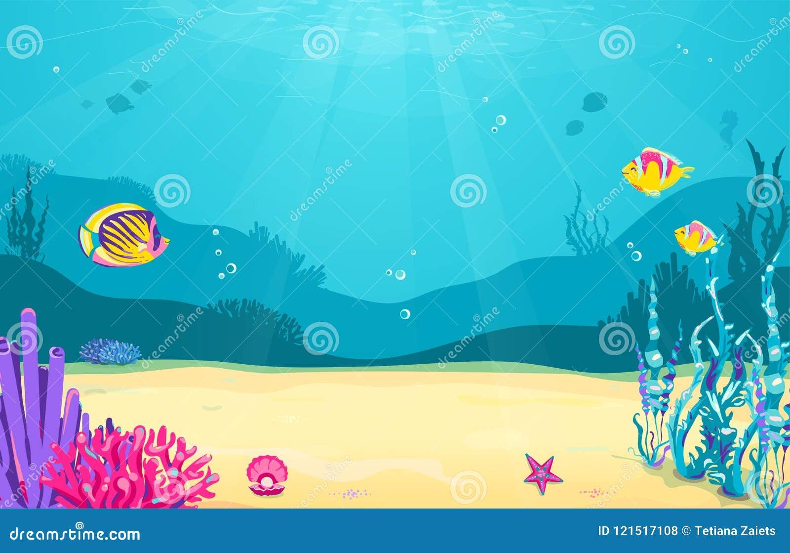 Fundo subaquático dos desenhos animados com peixes, areia, alga, pérola, medusa, coral, estrela do mar Vida marinha do oceano, pr