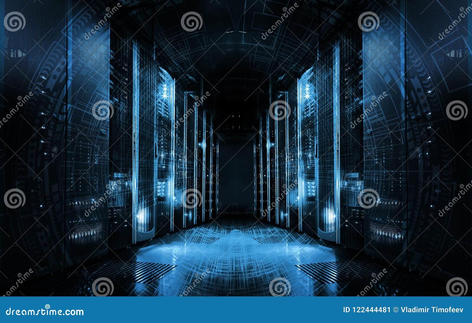Fundo tecnologico em servidores no centro de dados, projeto futurista Sala do servidor representada por diversas cremalheiras do