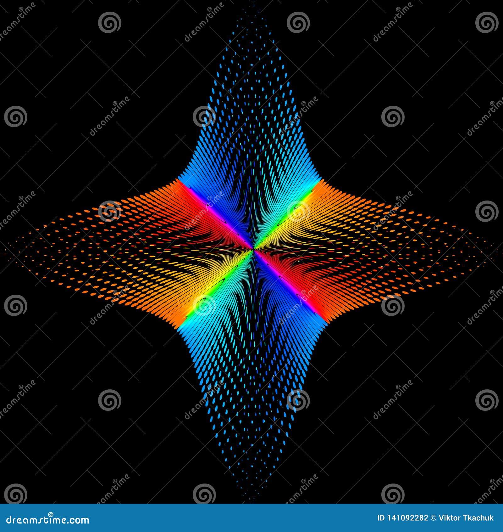 Fundo, textura, abstração O ponto da cor uma estrela ou uma flor é isolado no fundo preto