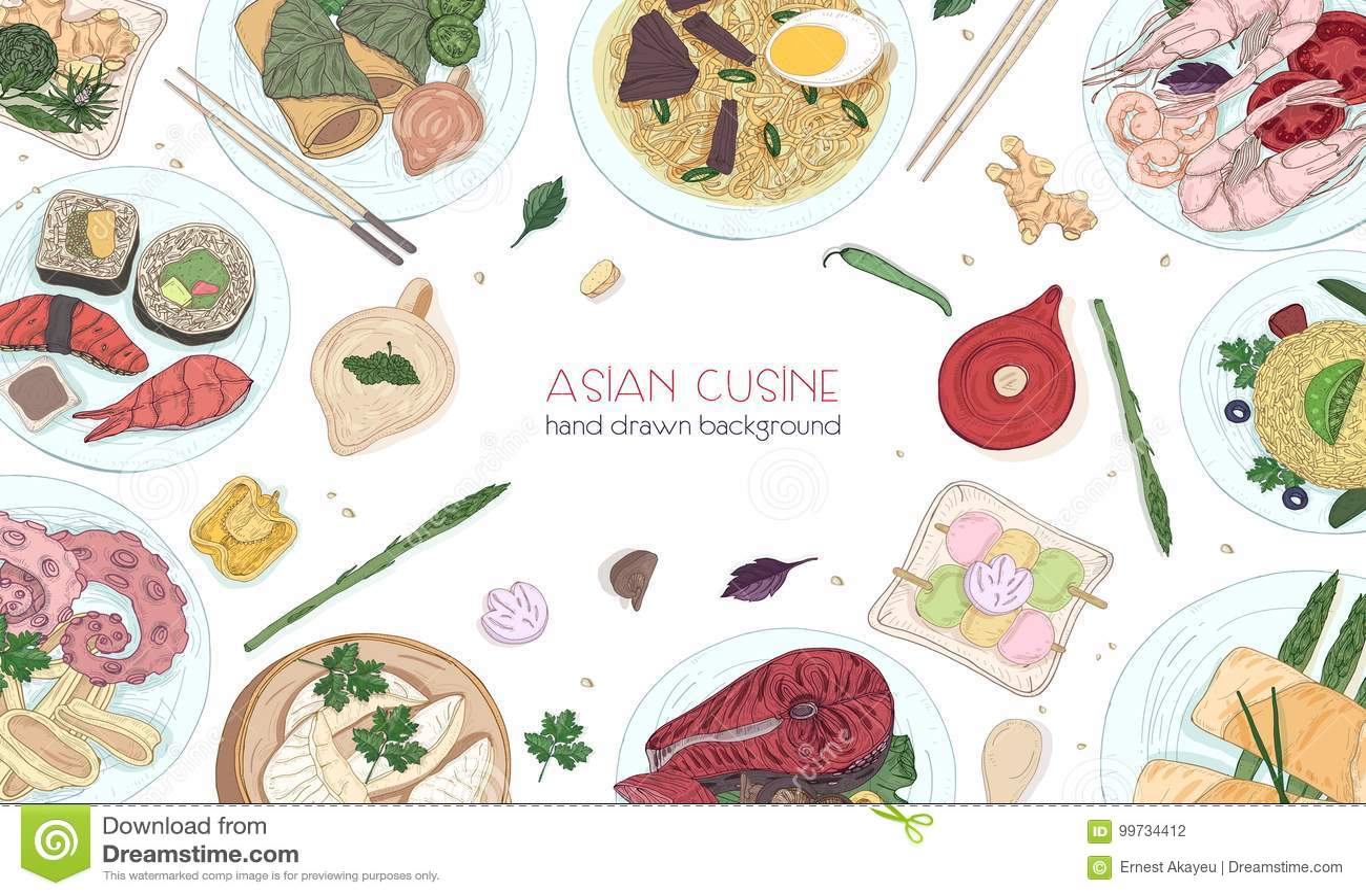 Fundo tirado mão colorido elegante com alimento asiático tradicional, refeições saborosos detalhadas e petiscos da culinária orie