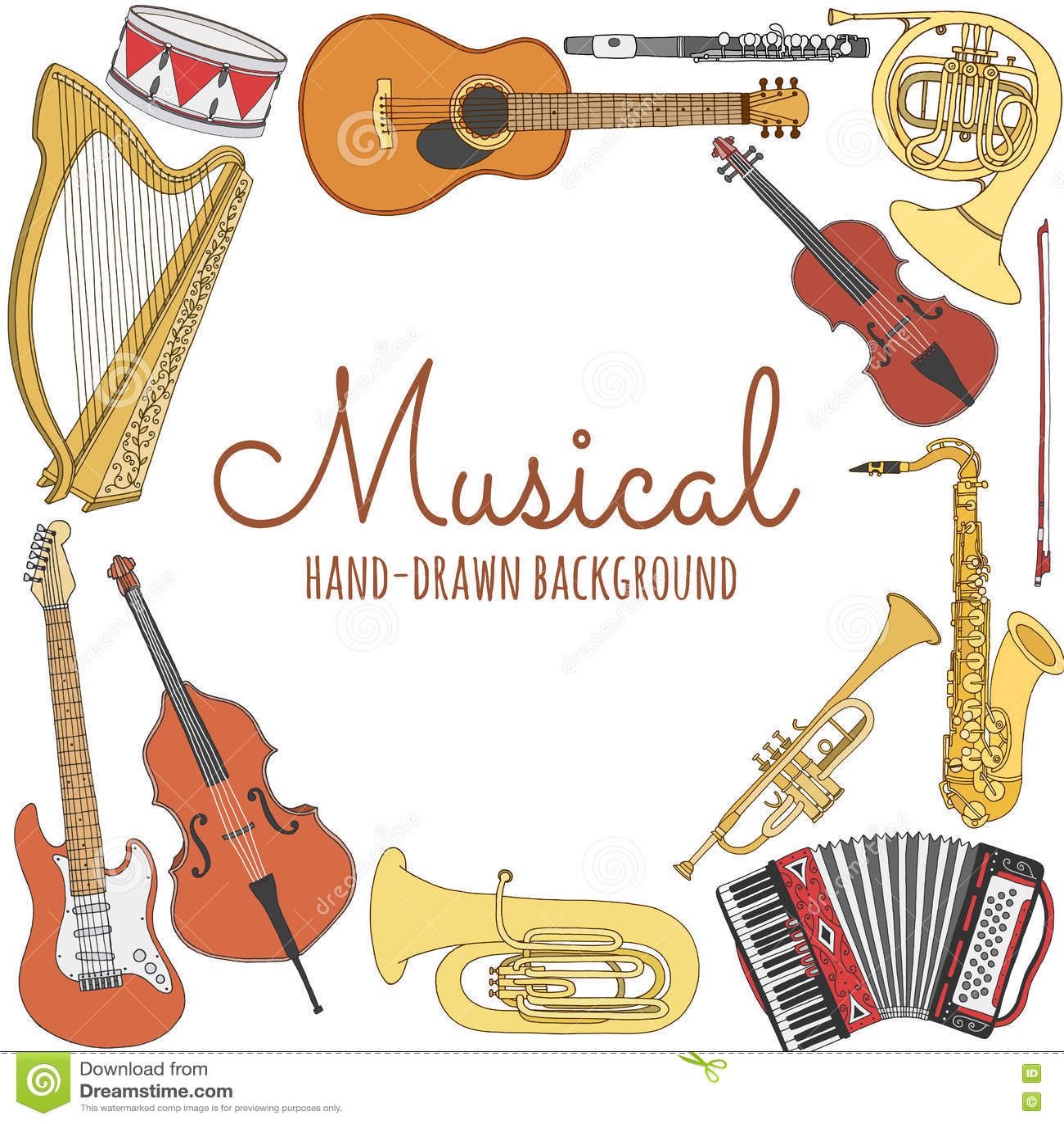 Fundo Tirado Mão Da Música Ilustração Do Vetor Dos