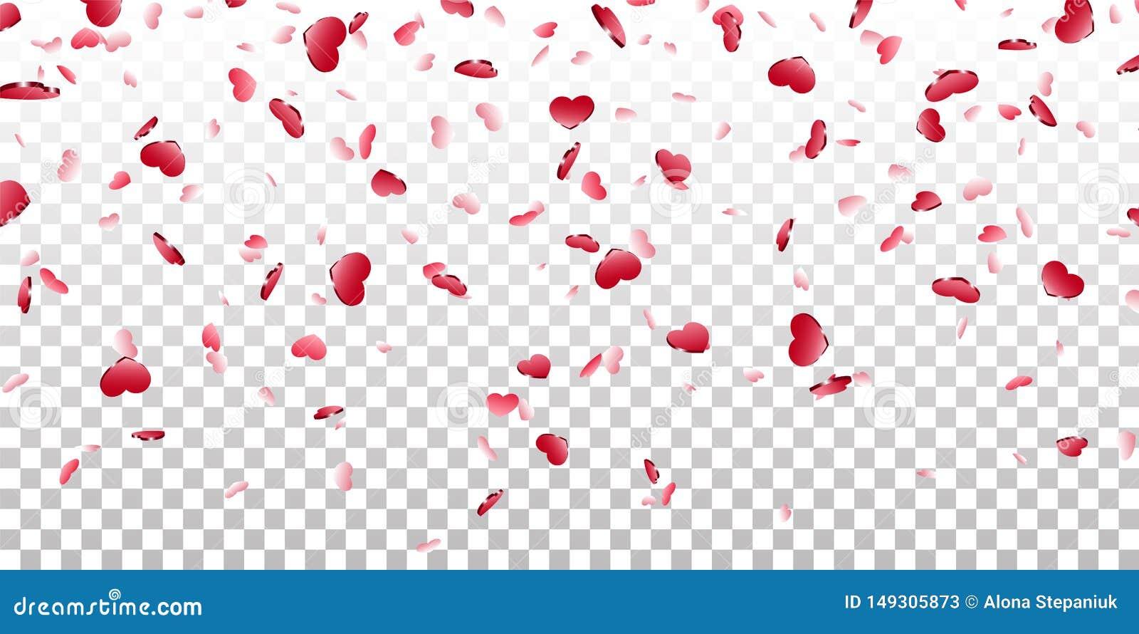 Fundo transparente branco isolado confetes de queda do cora??o Cora??es vermelhos da queda Decora??o de Valentine Day Elemento do