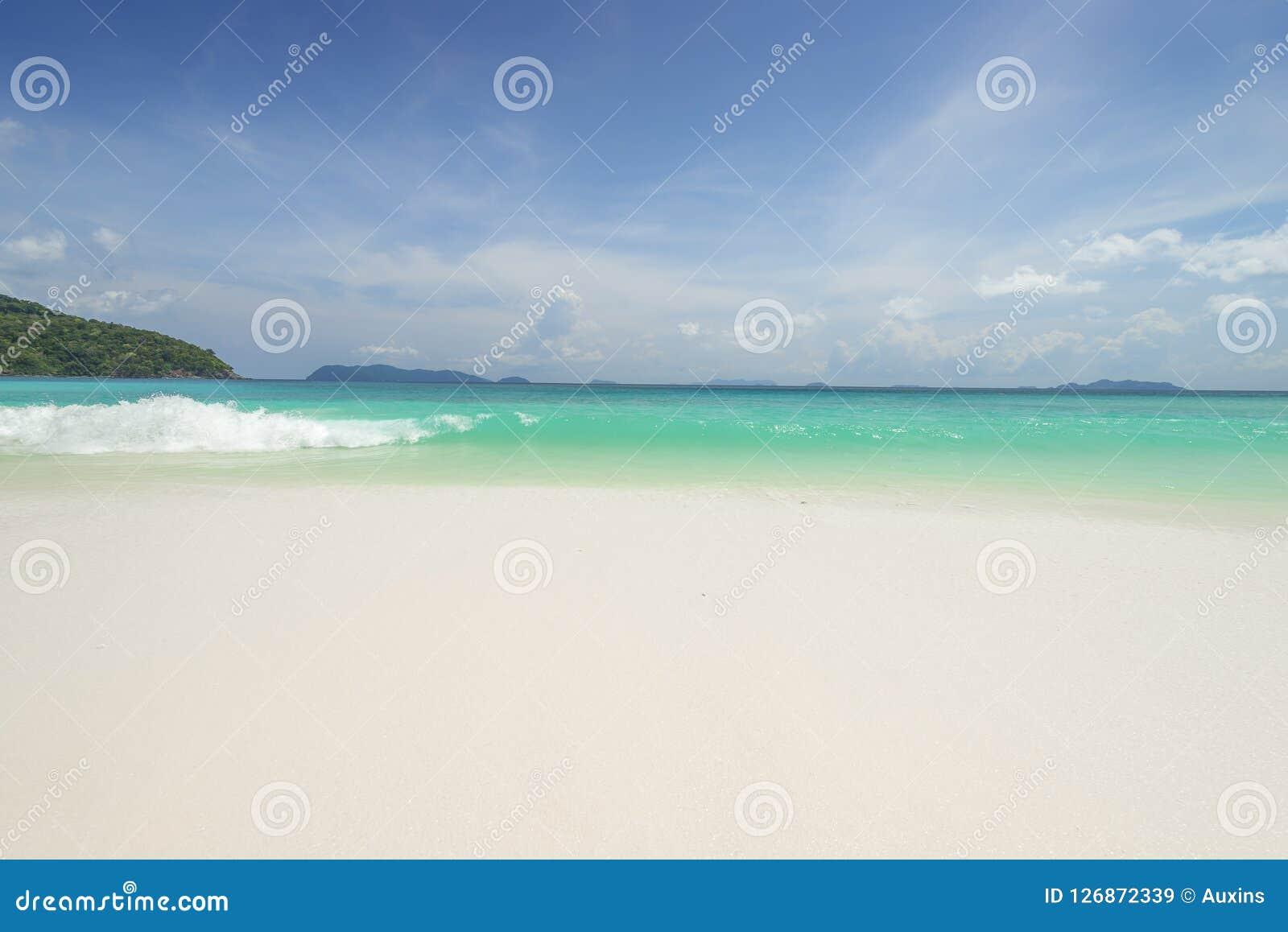 Fundo tropical bonito da praia da opinião do mar com horizonte s azul