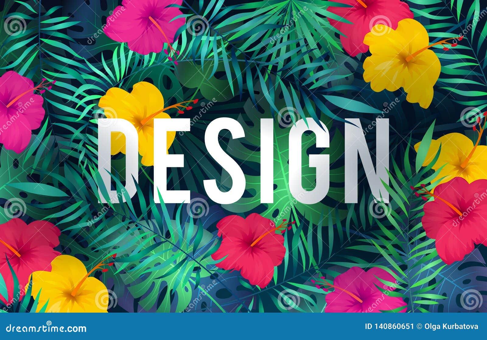 Fundo tropical brilhante As folhas de palmeira exóticas das plantas da selva do teste padrão florescem o cartão havaiano da arte