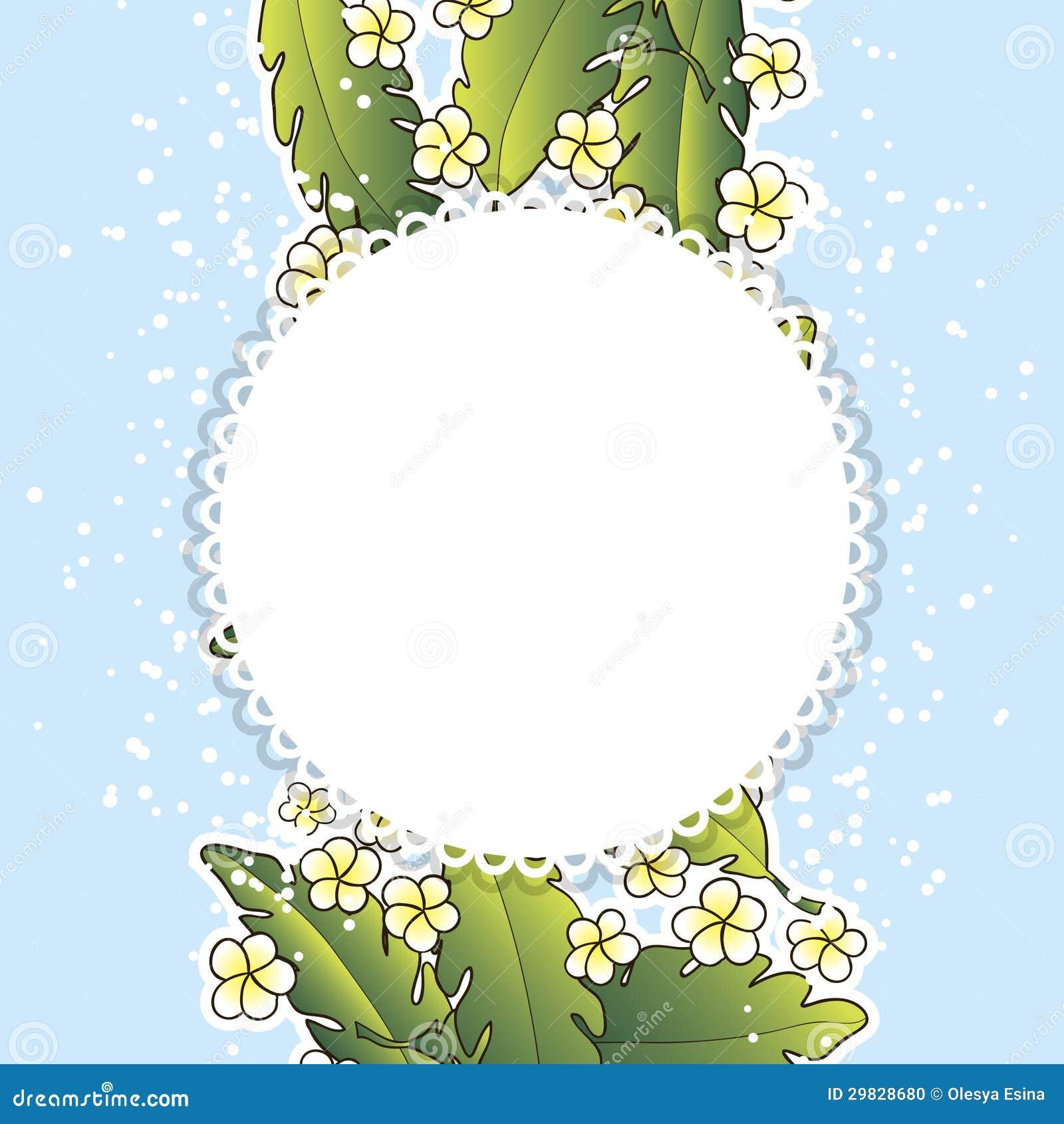 Fundo com palma e flores