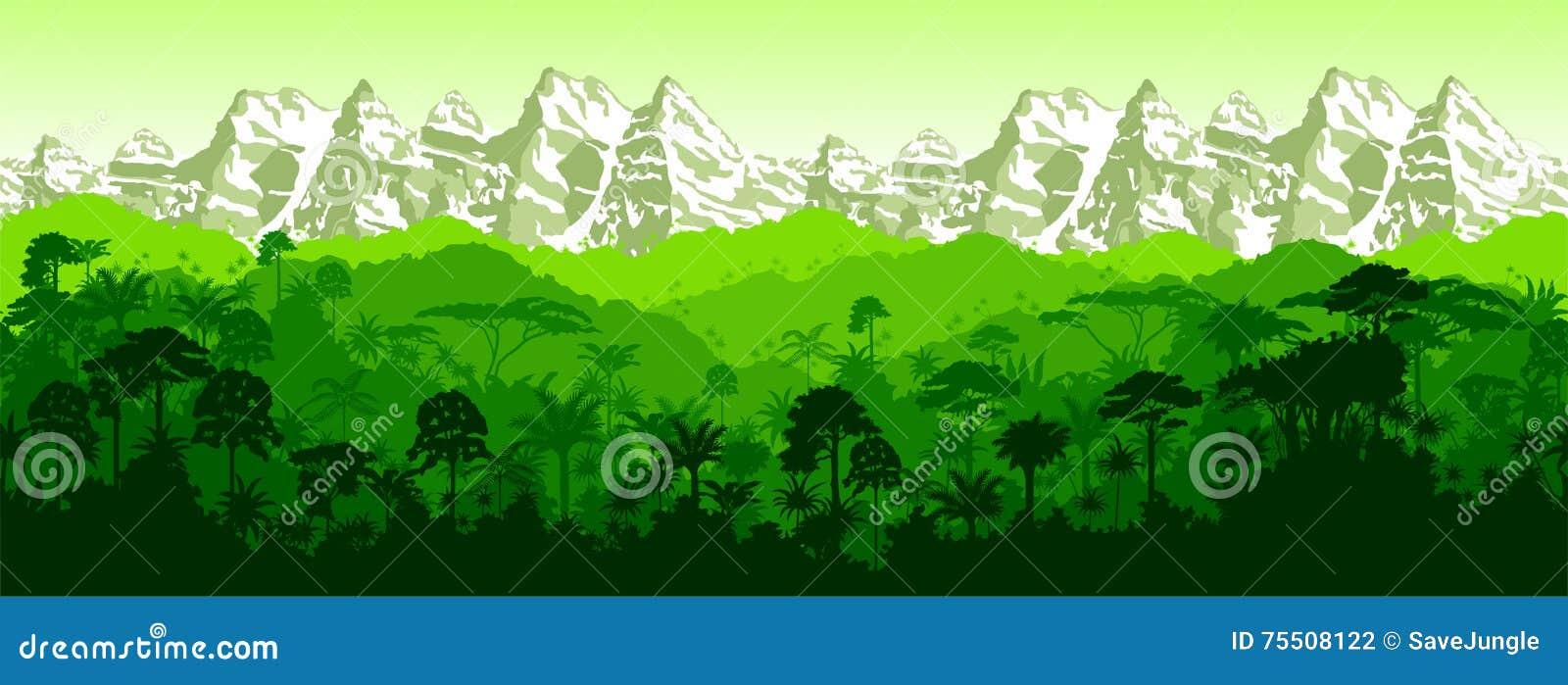 Fundo tropical sem emenda horizontal das montanhas da floresta úmida do vetor