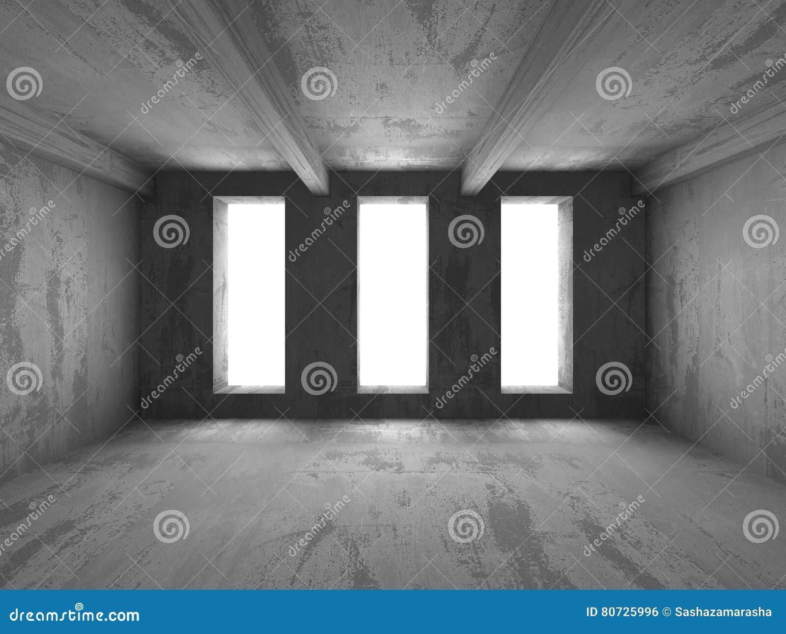 Fundo vazio abstrato do interior da sala do muro de cimento