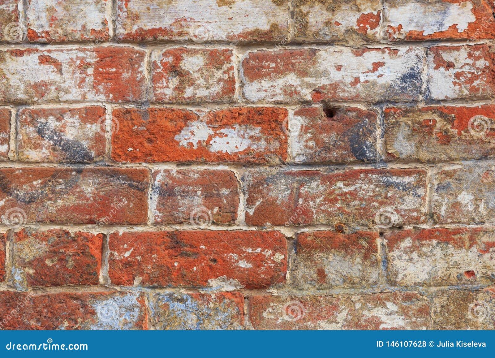 Fundo velho da textura da parede de tijolo vermelho