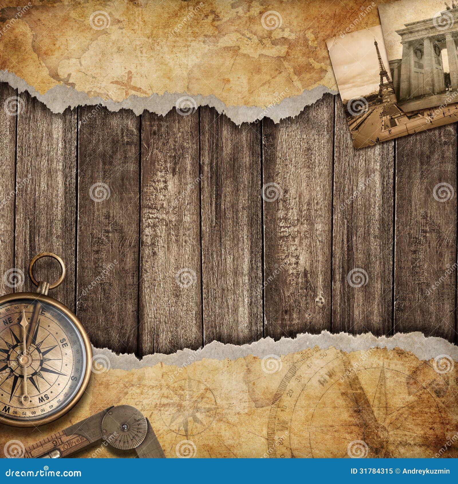 Fundo velho do mapa com compasso. Conceito da aventura ou da descoberta.