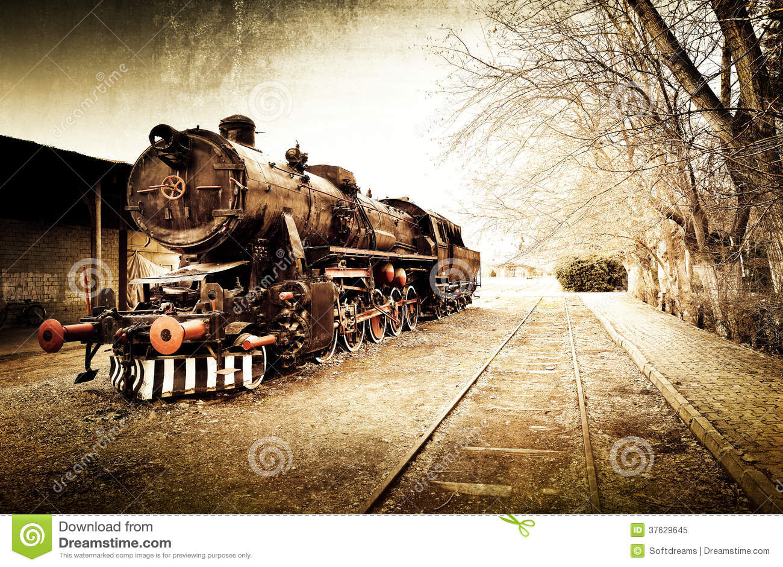 Fundo velho do trem do vintage retro