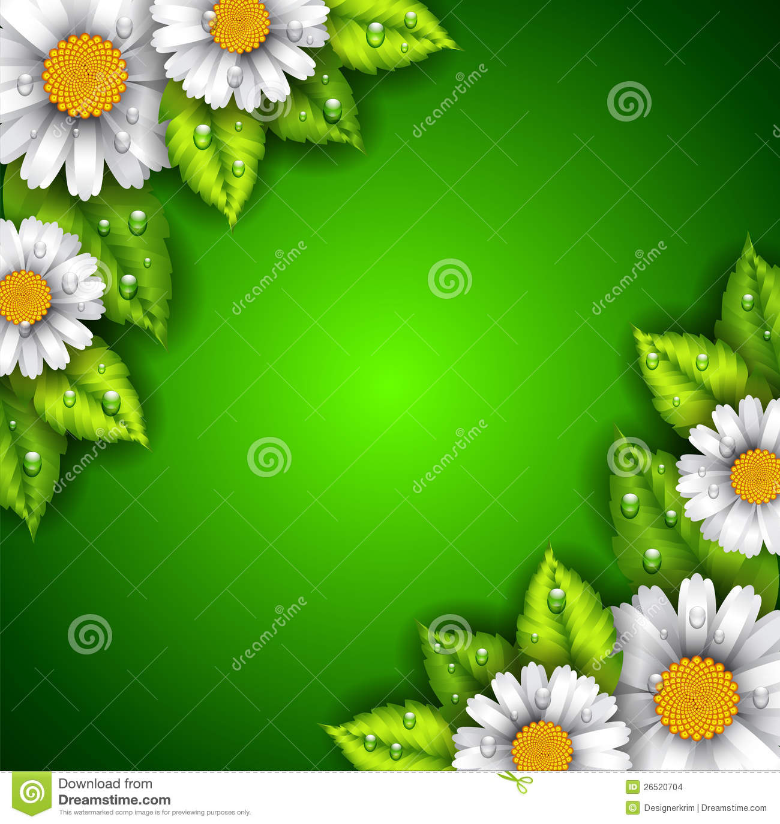 Fundo verde com flores e folhas