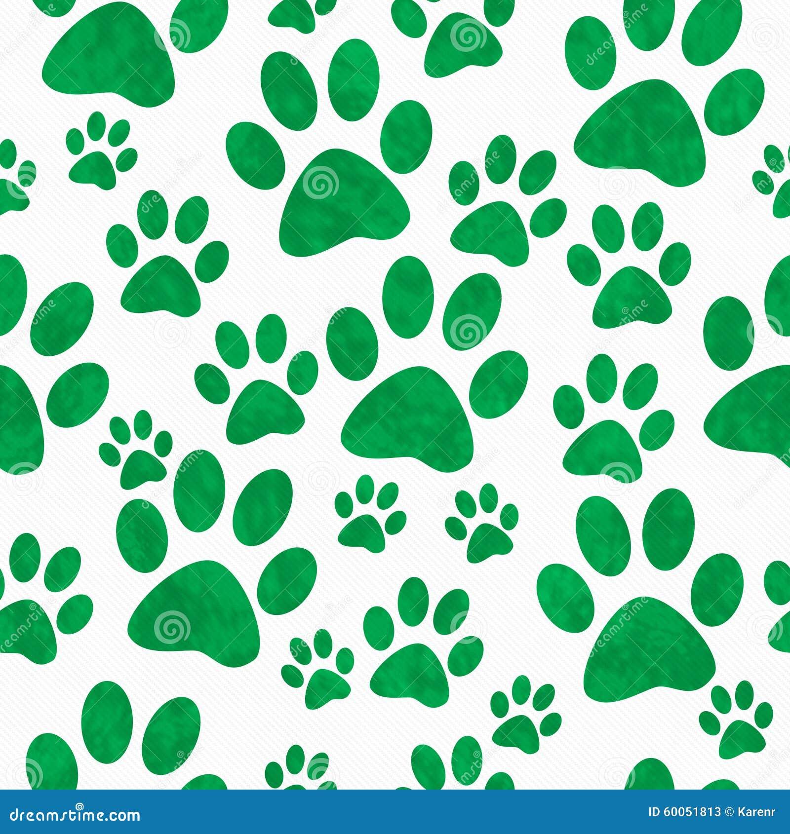 Fundo verde e branco de Paw Prints Tile Pattern Repeat do cão