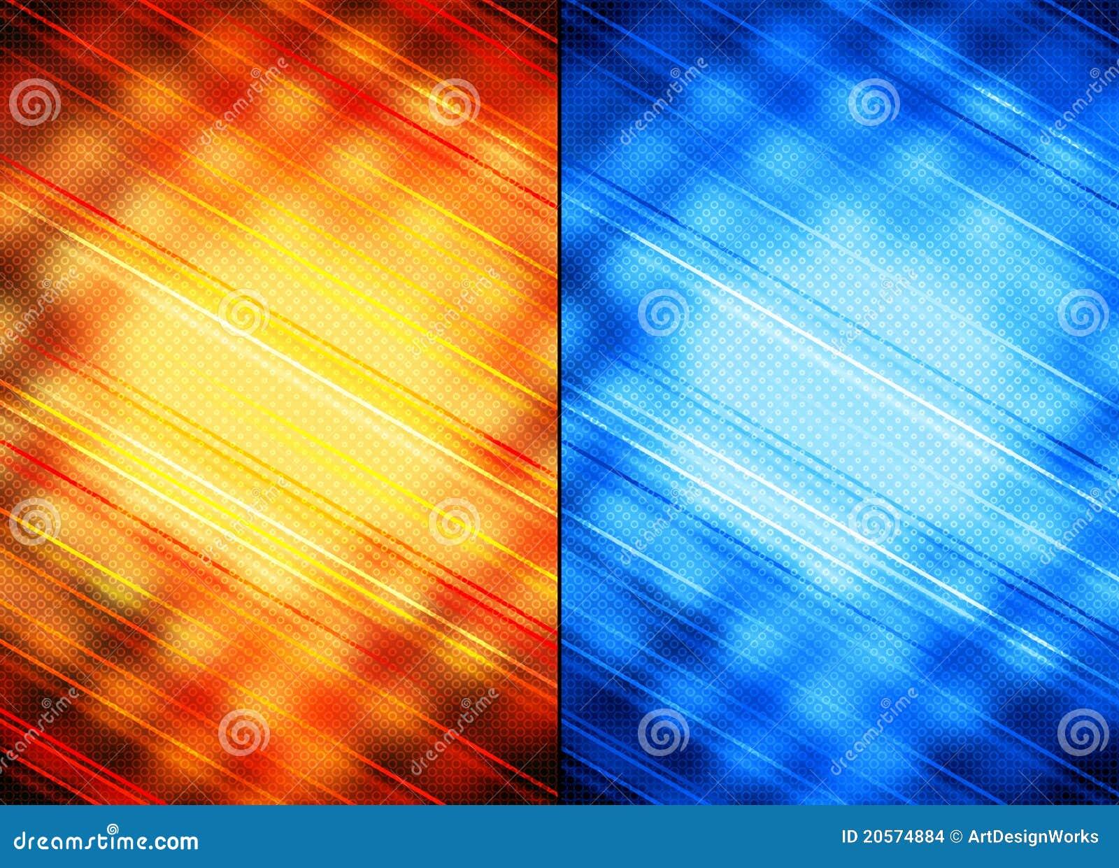 Fundos abstratos alaranjados e azuis