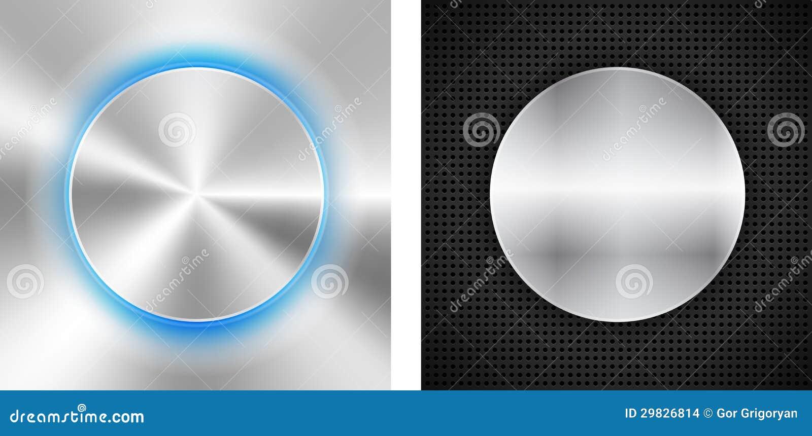 2 fundos abstratos com inserir metálico do círculo