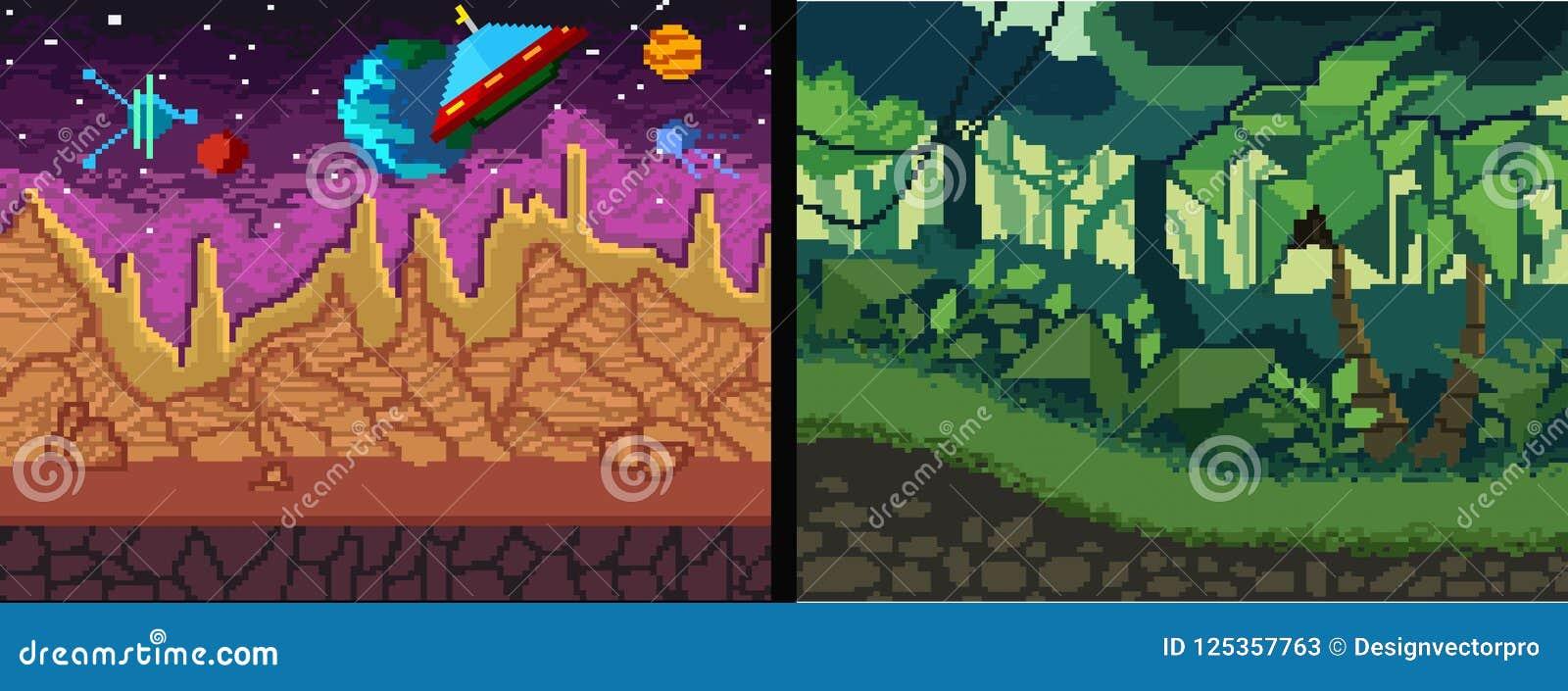 Fundos da arte do pixel ajustados Tema da selva e do espaço do pixel para o jogo