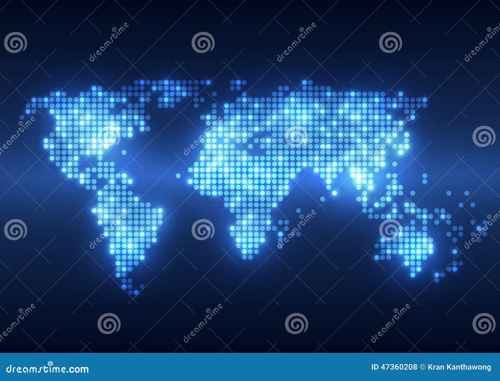 Fundos digitais da tecnologia abstrata com mapa da terra
