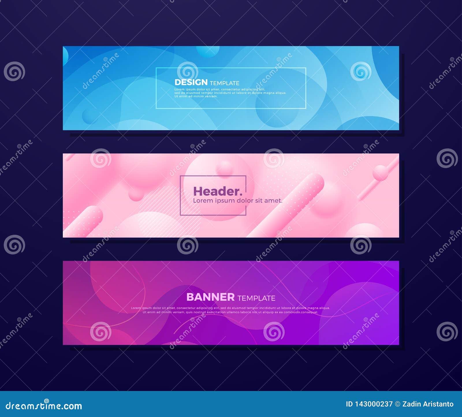 Fundos fluidos abstratos dinâmicos com conceitos diferentes e cores para seus elementos do projeto tais como bandeiras da Web, ca
