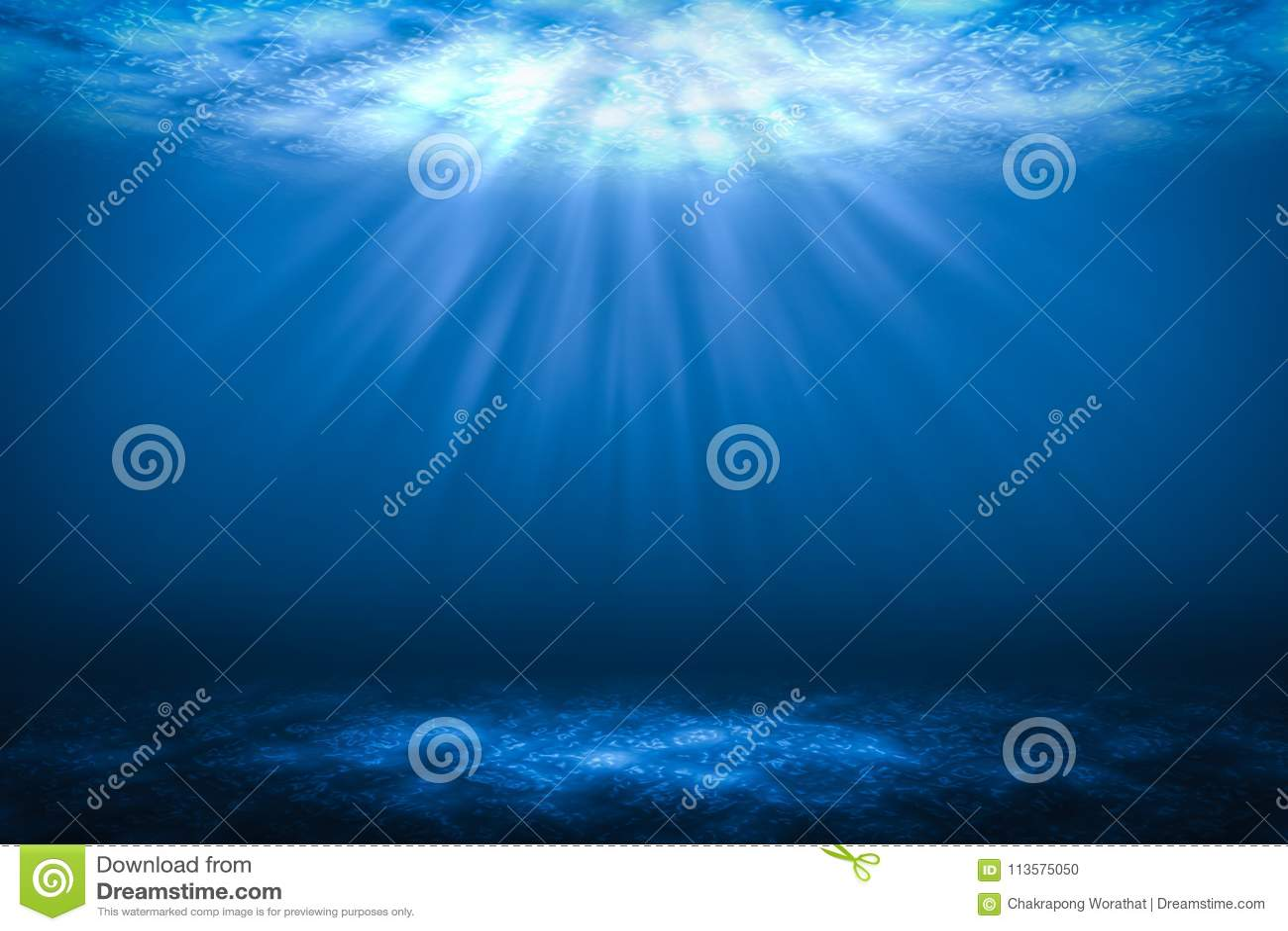 Fundos subaquáticos abstratos do raio de sol no mar