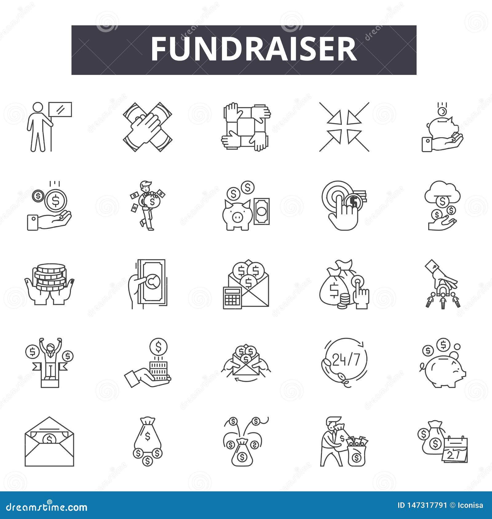 Fundraiserlinje symboler, tecken, vektoruppsättning, linjärt begrepp, översiktsillustration