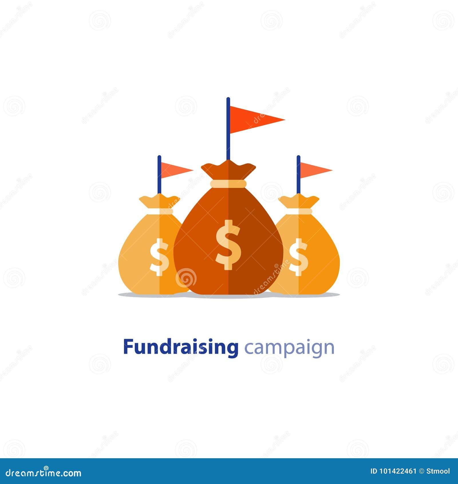 Fundraising aktion, crowdfunding begrepp, välgörenhetdonation, vektorillustration