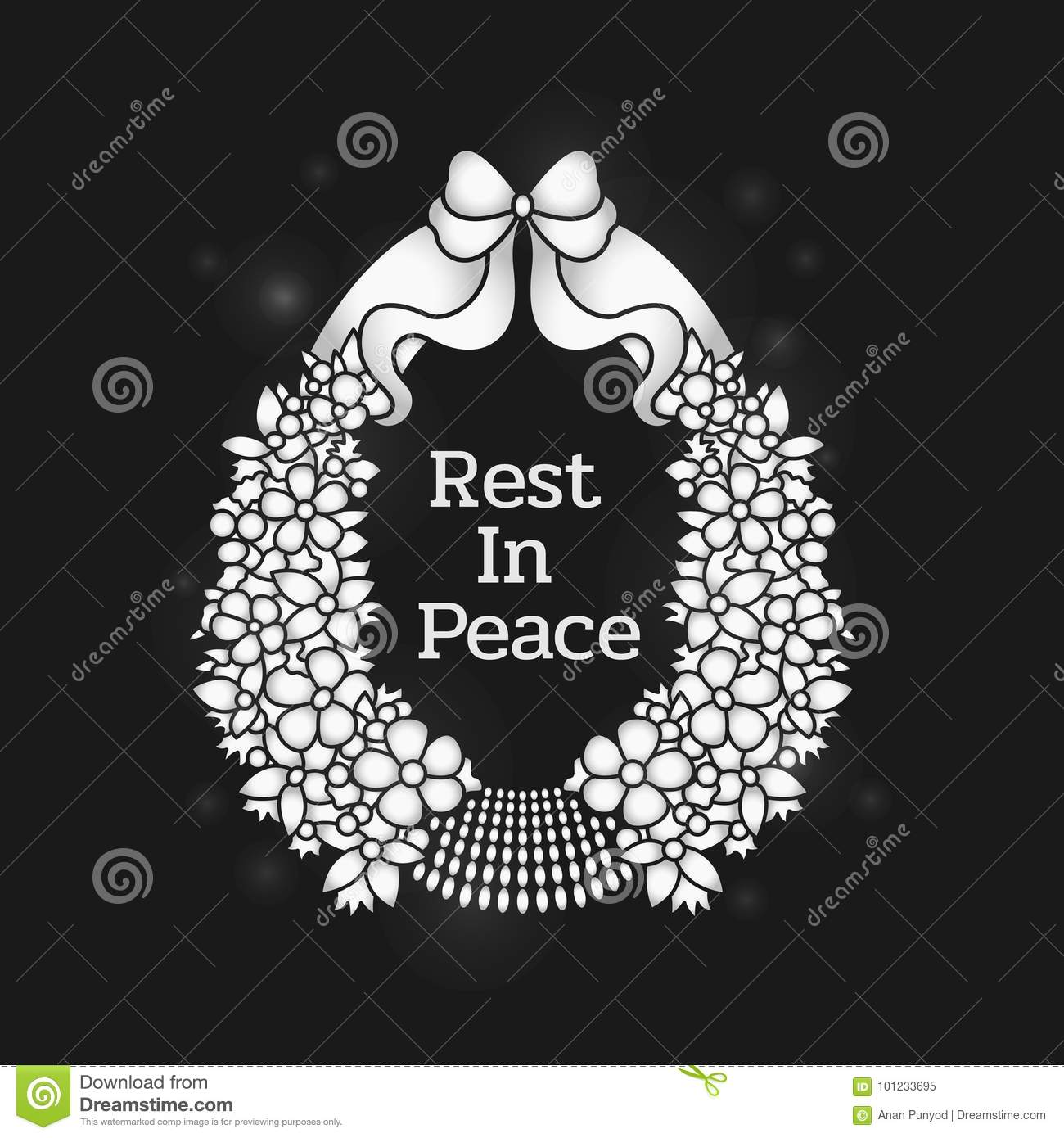 Funeral banner with rest in peace text in flowers wreath stock download funeral banner with rest in peace text in flowers wreath stock vector illustration of izmirmasajfo