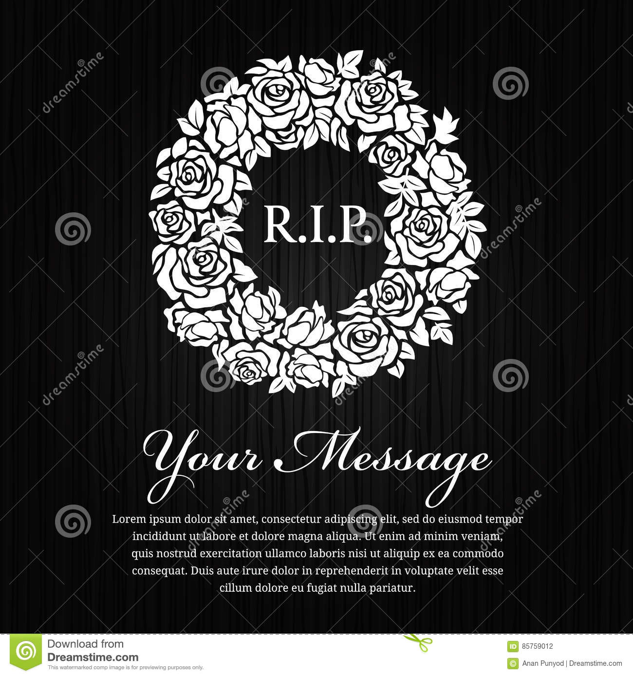 Funeral Card Black Ribbon Bow And White Rose Flower