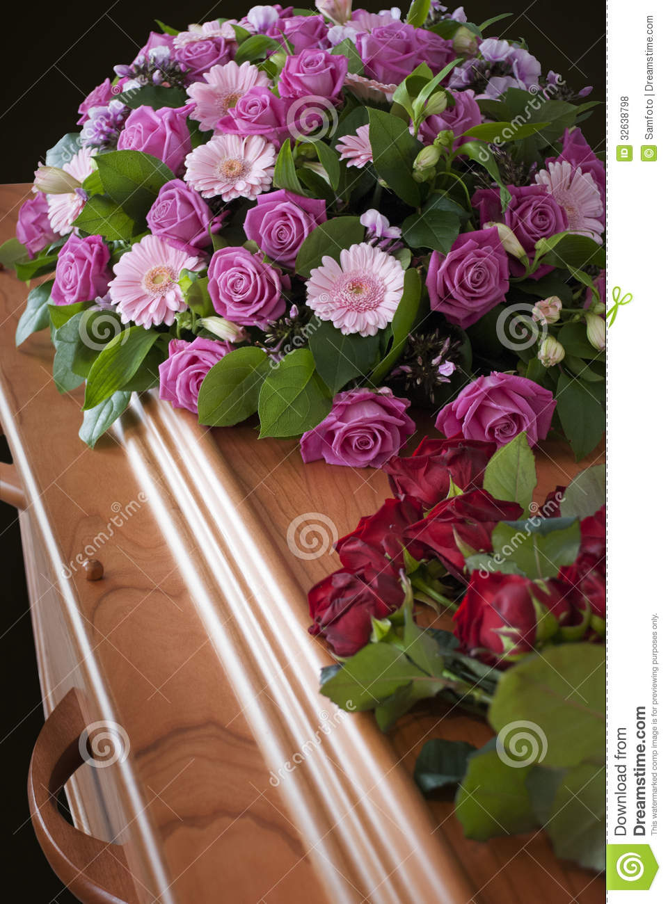 Funeral Flowers On A Casket Stock Photo Image Of Flower Rose